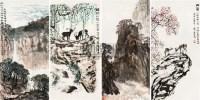 山水 四屏 设色纸本 - 4879 - 中国书画(二) - 2010年秋季艺术品拍卖会 -收藏网