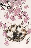 方楚雄 桃花小猫 硬片 - 117202 - 中国书画、油画 - 2006艺术精品拍卖会 -收藏网