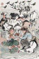 少年饲鹿图 镜片 设色纸本 - 程十发 - 中国书画一 - 2010年秋季艺术品拍卖会 -收藏网