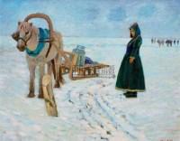 雪原牧民 布面油画 - 龙力游 - 中国油画  - 2010年秋季艺术品拍卖会 -收藏网