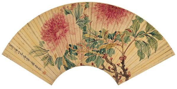 廖寿彭(清)  牡丹图 -  - 中国书画金笺扇面 - 2005年首届大型拍卖会 -收藏网