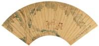 吴  俊(清)  芭蕉海棠图 -  - 中国书画金笺扇面 - 2005年首届大型拍卖会 -收藏网