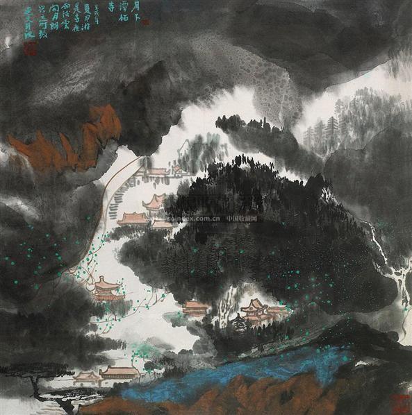 月下潭柘寺 镜心 设色纸本 - 6147 - 中国书画(一) - 2010年秋季艺术品拍卖会 -收藏网