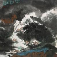 月下潭柘寺 镜心 设色纸本 - 杨延文 - 中国书画(一) - 2010年秋季艺术品拍卖会 -收藏网