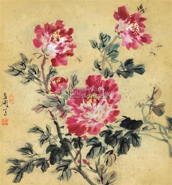 牡丹 镜心 纸本 - 116837 - 中国书画 - 2010年秋季书画专场拍卖会 -收藏网