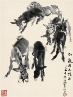 群驴图 镜片 水墨纸本 - 黄胄 - 中国近现代书画(二) - 2010秋季艺术品拍卖会 -收藏网