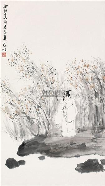 秋江觅句 立轴 设色纸本 - 2538 - 中国书画(一) - 2010年秋季艺术品拍卖会 -收藏网