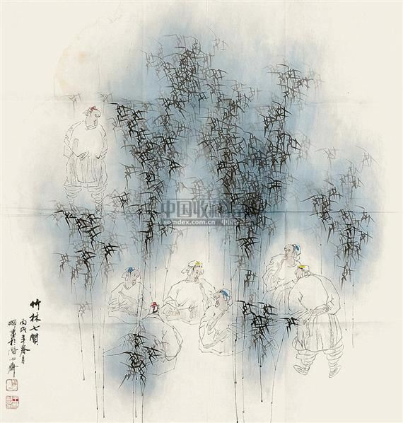 竹林七贤 镜片 设色纸本 - 67957 - 国画 陶瓷 玉器 - 2010秋季艺术品拍卖会 -收藏网