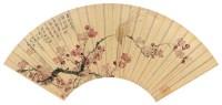 任  培(清)  绶带红梅图 -  - 中国书画金笺扇面 - 2005年首届大型拍卖会 -收藏网