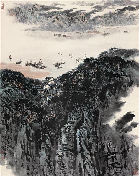 嘉陵帆影 立轴 纸本 - 5002 - 中国近现代书画(一) - 2010秋季艺术品拍卖会 -收藏网