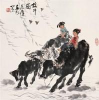 牧牛图 立轴 设色纸本 - 张广 - 中国书画 - 第54期书画精品拍卖会 -收藏网