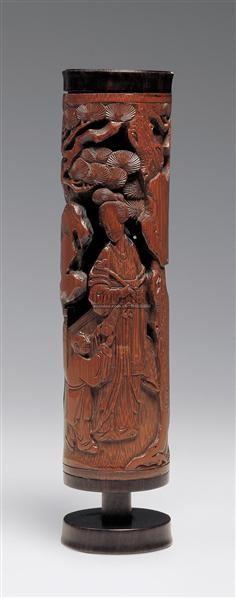 竹刻镂雕教子图香筒 -  - 中国古代工艺美术 - 2006年度大型经典艺术品拍卖会 -中国收藏网
