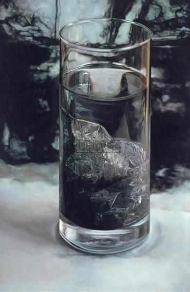 水.墨 布面油画 - 157859 - 中国油画  - 2010年秋季艺术品拍卖会 -收藏网