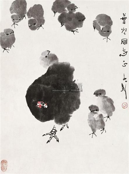 亲情 镜片 设色纸本 - 118173 - 中国书画 - 2010秋季艺术品拍卖会 -收藏网