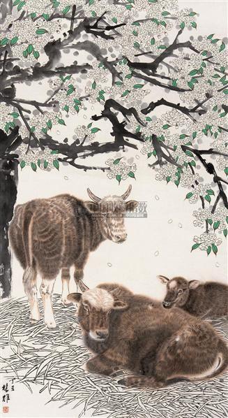 牛 立轴 设色纸本 - 117202 - 书画专场 - 2006年第2期精品拍卖会 -中国收藏网