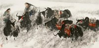 飞雪迎春 镜框 设色纸本 - 67957 - 中国书画五 - 2010秋季艺术品拍卖会 -收藏网