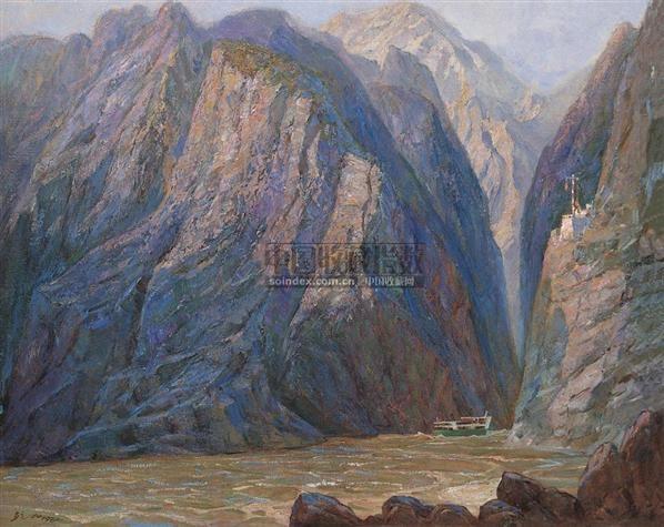 山峡之晨 布面  油画 - 140046 - 华人西画 - 2006年度大型经典艺术品拍卖会 -收藏网