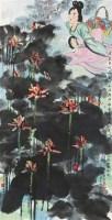 荷塘佳人 立轴 设色纸本 - 黄永玉 - 中国书画(一) - 2010年秋季艺术品拍卖会 -收藏网