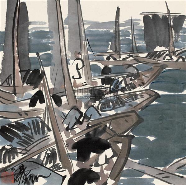 渔舟唱晚 镜片 设色纸本 - 116036 - 名家小品暨册页专场 - 2010秋季艺术品拍卖会 -收藏网