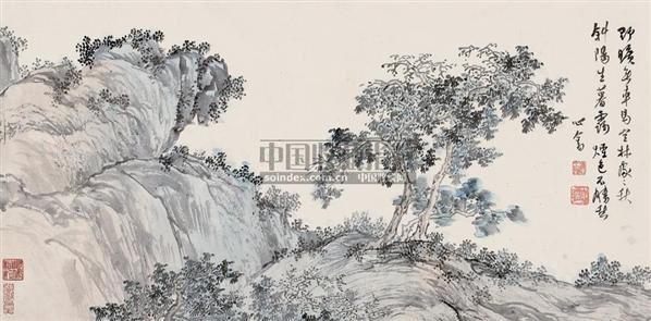 空林秋暮 镜片 设色纸本 - 1518 - 中国近现代书画(一) - 2010秋季艺术品拍卖会 -收藏网