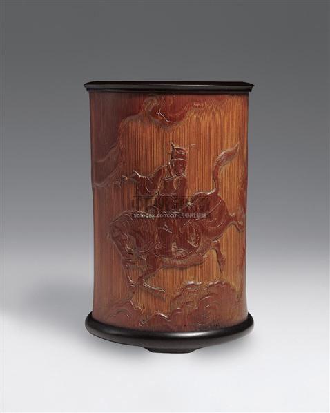 """""""宗玉""""制剔地浮雕竹笔筒 -  - 中国古代工艺美术 - 2006年度大型经典艺术品拍卖会 -收藏网"""
