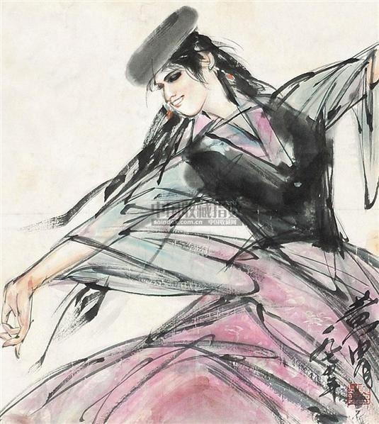 新疆少女 镜心 纸本 - 7693 - 中国书画 - 2010年秋季书画专场拍卖会 -收藏网
