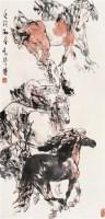 刘勃舒 壬戌(1982年)作 八骏图 轴 设色纸本 - 刘勃舒 - 中国油画·当代名家书画 - 2006艺术品拍卖会 -收藏网