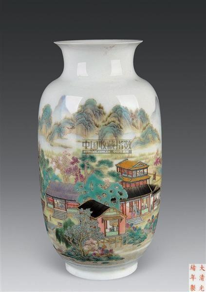 粉彩山水纹灯笼瓶 -  - 古董珍玩 - 2010秋季艺术品拍卖会 -收藏网