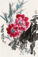 牡丹富贵图 镜片 设色纸本 - 林墉 - 国画 陶瓷 玉器 - 2010秋季艺术品拍卖会 -收藏网
