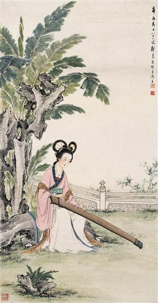 仕女 镜心 设色纸本 - 125768 - 近现代书画 - 2006夏季书画艺术品拍卖会 -收藏网