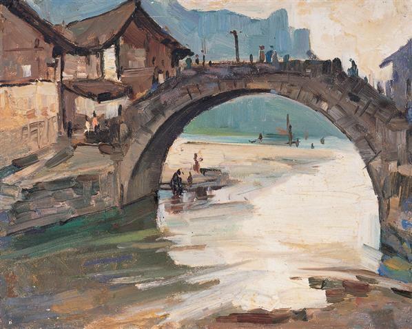 小桥 布面 油画 - 140418 - 中国油画 - 第54期书画精品拍卖会 -收藏网