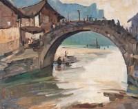 小桥 布面 油画 - 涂克 - 中国油画 - 第54期书画精品拍卖会 -收藏网