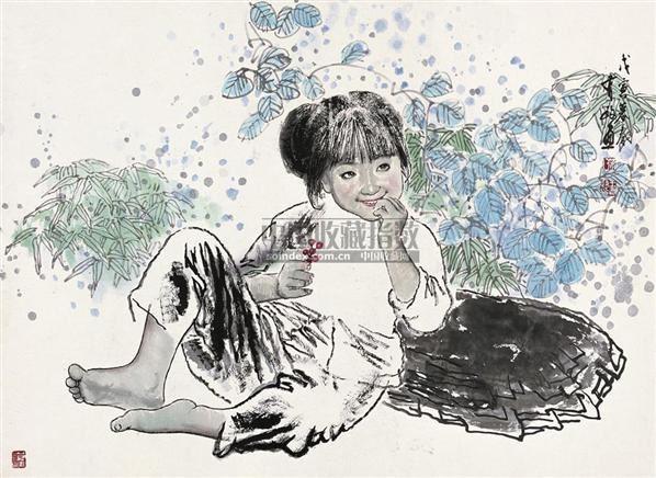 女孩 镜心 设色纸本 - 5448 - 中国书画 - 2010秋季艺术品拍卖会 -收藏网
