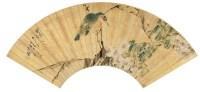 沙  馥(1831~1906)  海棠小鸟图 -  - 中国书画金笺扇面 - 2005年首届大型拍卖会 -收藏网