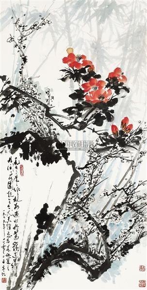 双清 立轴 设色纸本 - 128053 - 中国书画(二) - 2010年秋季艺术品拍卖会 -收藏网