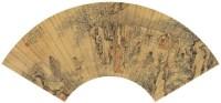 周  彬(清)  高士饮酒图 -  - 中国书画金笺扇面 - 2005年首届大型拍卖会 -收藏网