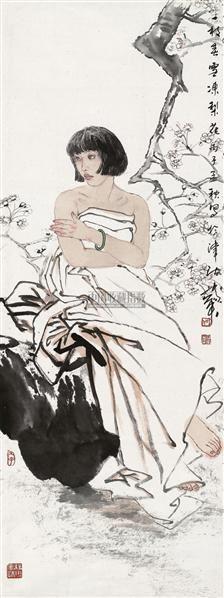 一枝春雪冻梨花  镜心 设色纸本 - 114947 - 中国书画四·当代书画 - 2010秋季艺术品拍卖会 -收藏网