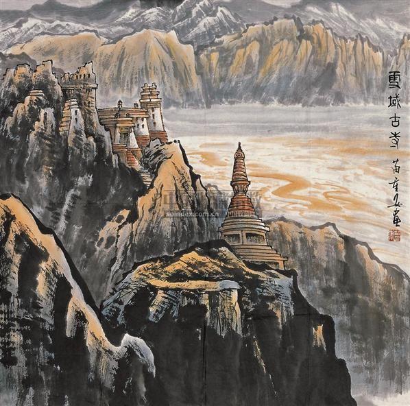 雪域古寺 软片 设色纸本 - 4706 - 中国书画 - 2010秋季艺术品拍卖会 -收藏网