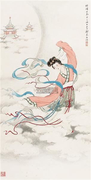 嫦娥起舞图 立轴 设色纸本 - 125768 - 中国书画三 - 2010年秋季艺术品拍卖会 -收藏网