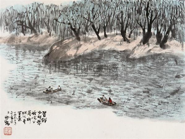 柳湖泛舟 镜片 设色纸本 - 21149 - 中国书画(一) - 2010年秋季艺术品拍卖会 -收藏网