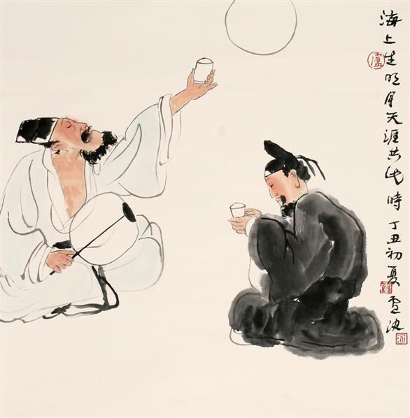 李白诗意图 立轴-卢沉-中国书画
