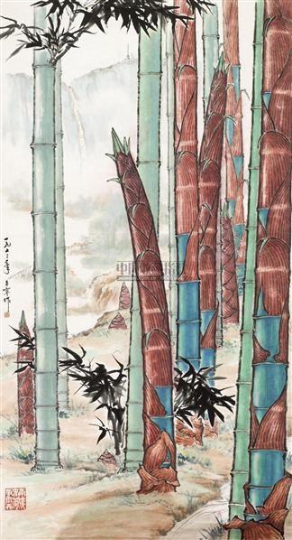 岱岳春韵 镜心 设色纸本 - 128053 - 中国书画(二) - 2010年秋季艺术品拍卖会 -收藏网
