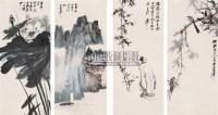 山水人物花鸟屏 四屏 设色纸本 - 116070 - 中国近现代书画(一) - 2010秋季艺术品拍卖会 -收藏网