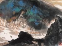 青绿山峡 镜心 设色纸本 - 杨延文 - 中国书画 - 第54期书画精品拍卖会 -中国收藏网
