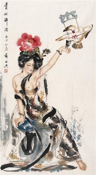 仕女 镜心 设色纸本 - 123322 - 名家书画·油画专场 - 2006夏季书画艺术品拍卖会 -收藏网