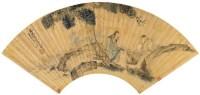 沙  馥(1831~1906)  高士图 -  - 中国书画金笺扇面 - 2005年首届大型拍卖会 -收藏网