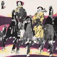 张道兴 骑驴女 镜心 设色纸本 - 张道兴 - 瓷器杂项 - 2006年夏季拍卖会 -收藏网