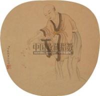 人物 圆光 设色纸本 - 丁观鹏 - 中国书画 - 2010年秋季艺术品拍卖会 -收藏网