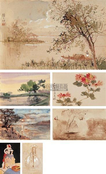 颜文樑 湖塘春色 纸本 水彩 - 7371 - 中国油画·当代名家书画 - 2006艺术品拍卖会 -收藏网