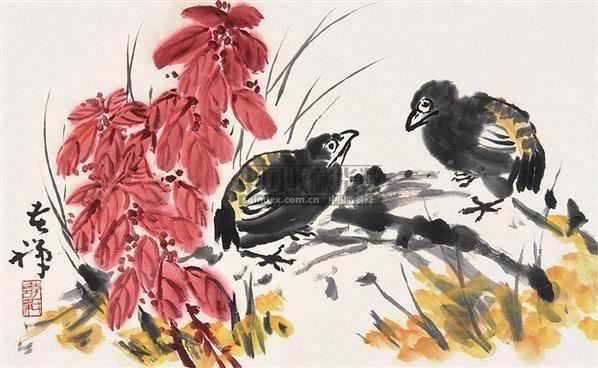 花鸟 镜片 纸本 - 139807 - 中国书画(下) - 2010瑞秋艺术品拍卖会 -收藏网